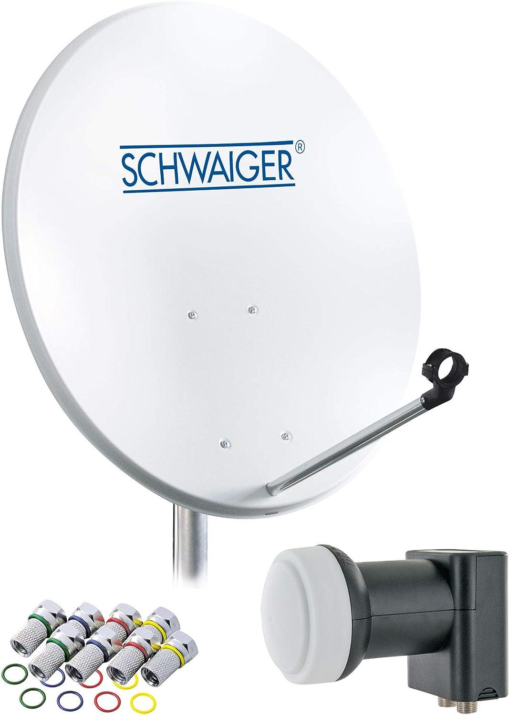 SCHWAIGER -470- Sistema de satélites | antena satelital con LNB doble (digital) y 8 conectores F de 7 mm | antena satelital de acero | gris claro | 55 ...