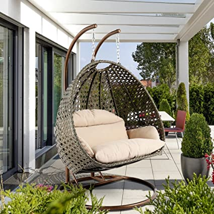 Charmant Deluxe Swing Chair Outdoor Furniture PE Rattan Wicker Hanging Hammock With  Stand, Cushioned Loveseat Chaise