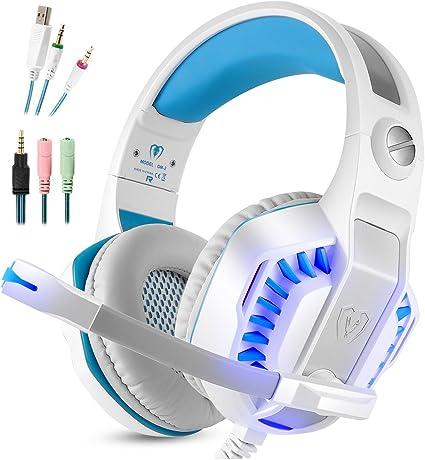 Microlindun Gaming Headset Micrófono PC Auriculares Gamer con micrófono 3.5mm Bass Stereo Control de volumen LED para PC, Laptop, Tablet y Smartphone, PS4 (adaptador de divisor): Amazon.es: Informática