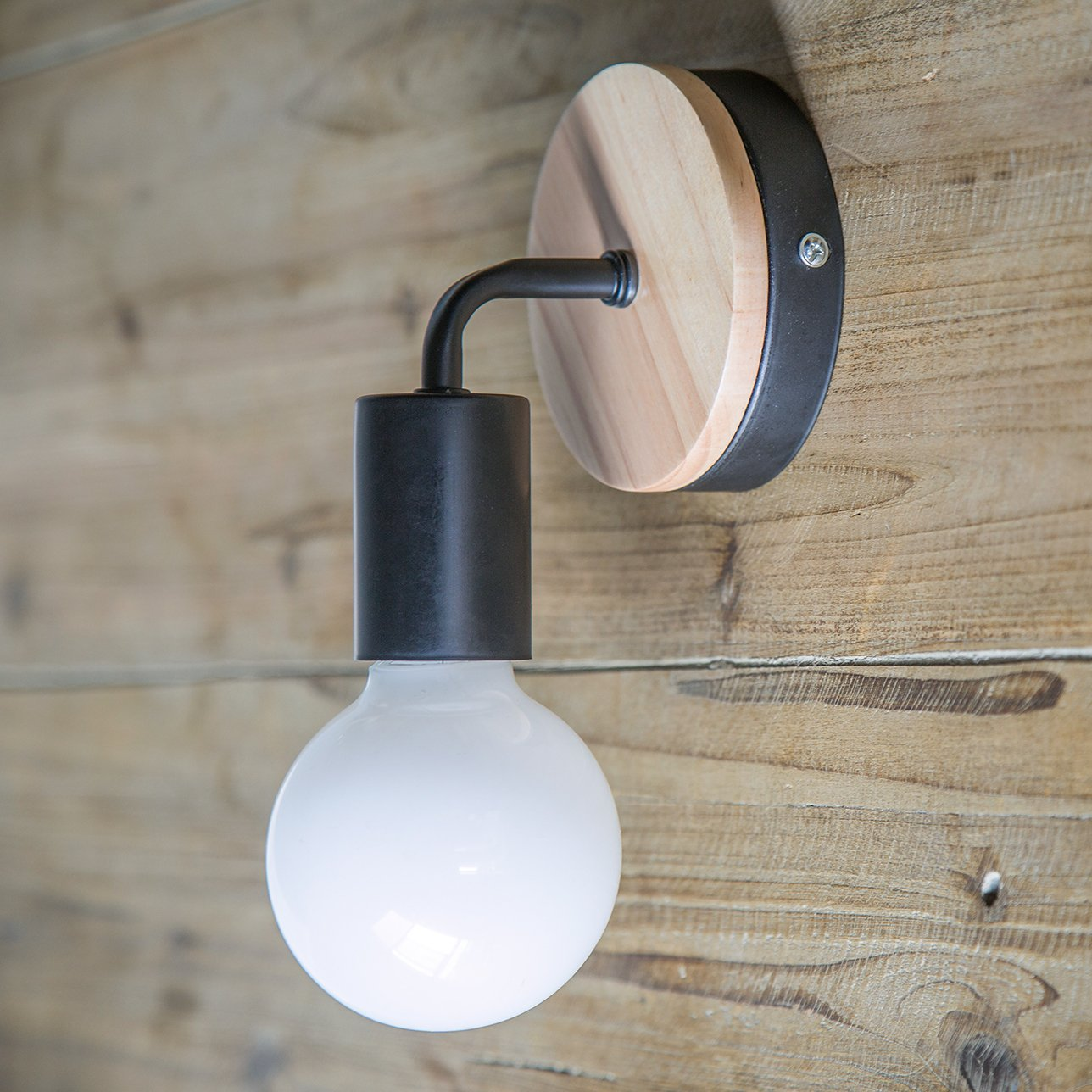 OYGROUP Modern Creative Wood Vintage Lampe de sol en fer forg/é E27 40W Applique murale Lampe de lecture Lampe de chevet pour chambre /à coucher Blanc