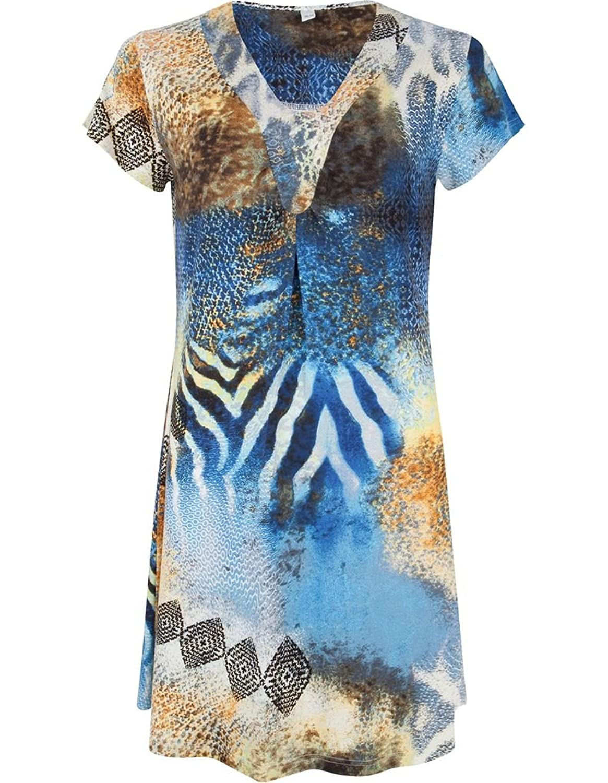 Pastunette 1071-392-2-557 Women's Blue and Beige Geometric Print Viscose Kaftan