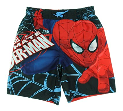 6df3b4fcef8e4 Image Unavailable. Image not available for. Color: Marvel Spiderman Swim  Trunks Swim Shorts Big Boys ...