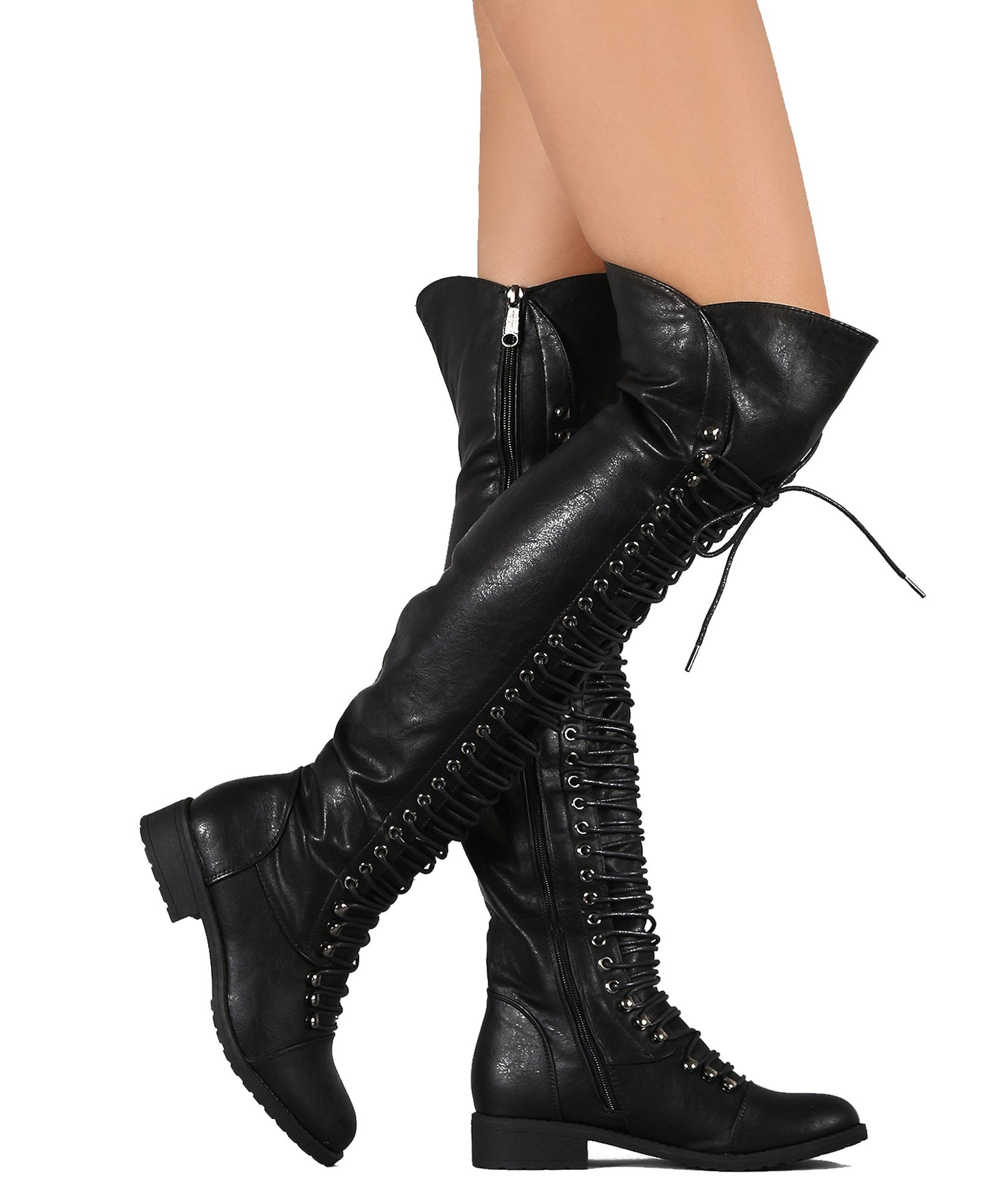 RF ROOM OF FASHION Women's Lace Up Military Over The Knee OTK Combat Riding Boots Black (7)