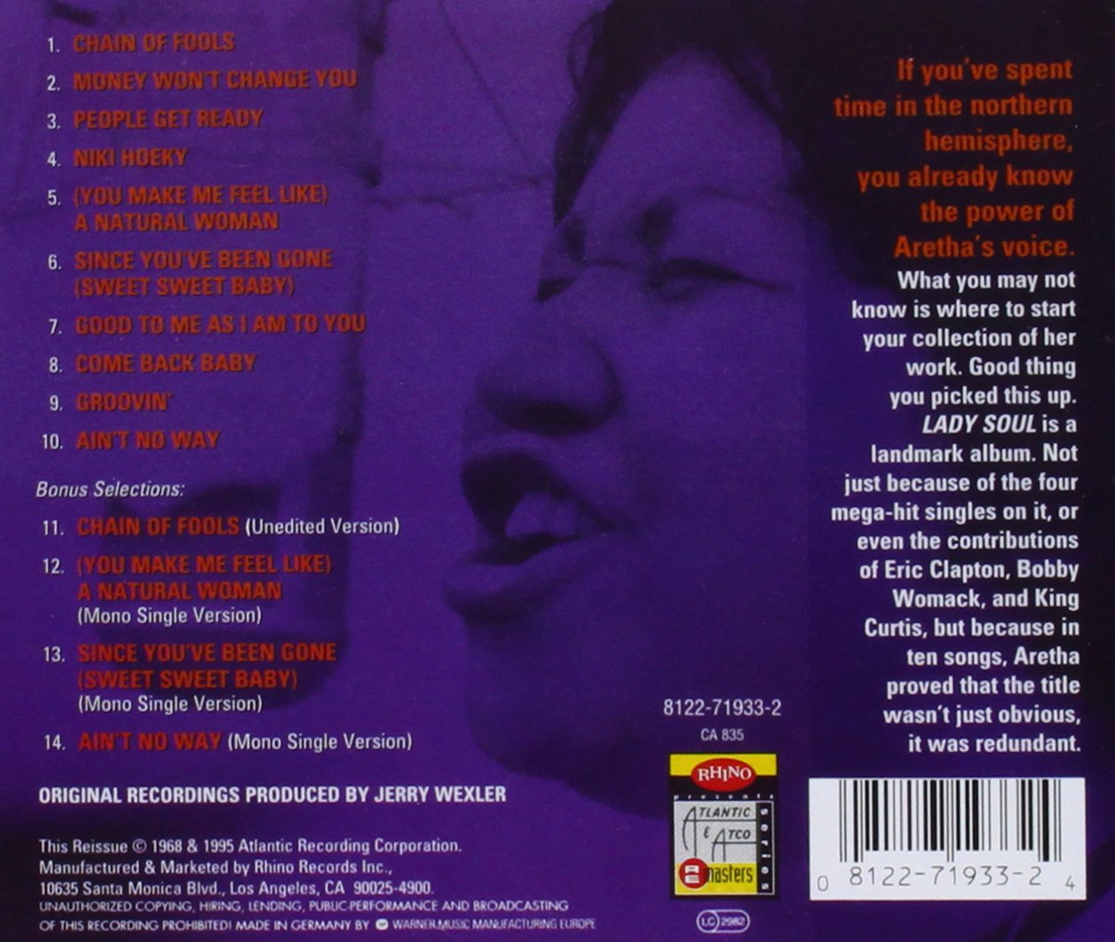Aretha: Lady Soul by Franklin Machine Products (Image #1)