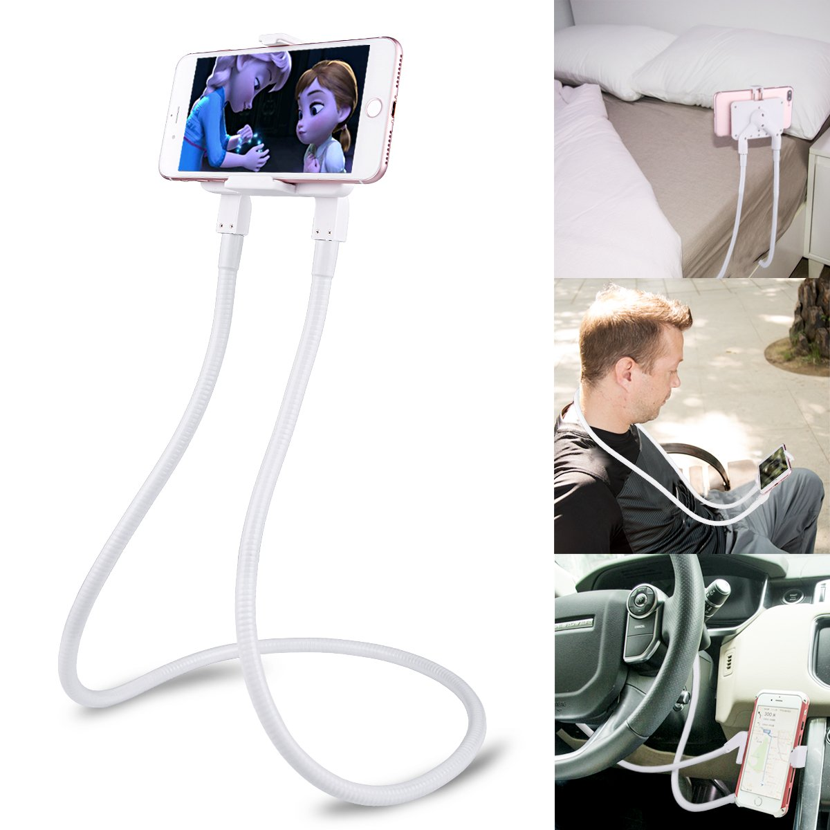 B-Land Cell Phone Holder, Universal Mobile Phone Stand, Lazy Bracket, DIY Free Rotating Mounts with Multiple Function (White) by B-Land