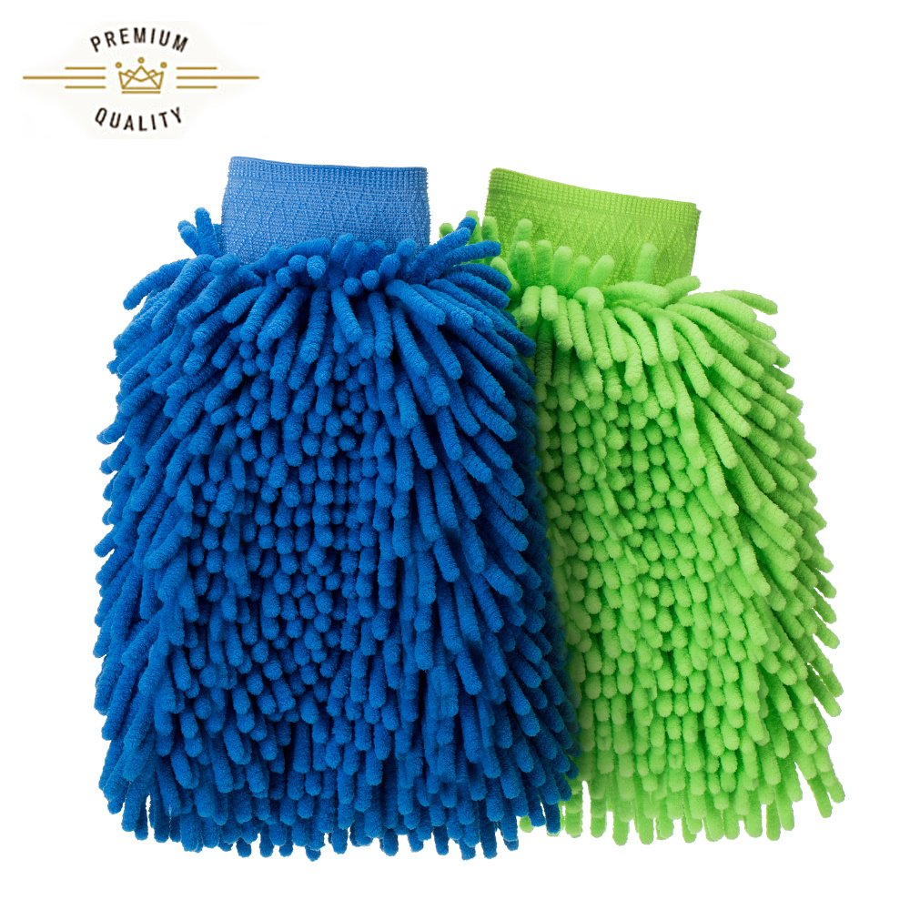 Mr.Ho 2 Pack Super absorbent Premium Chenille Microfiber Wash Mitt, Double-sided, Scratch- Free, Lint-Free (GB)