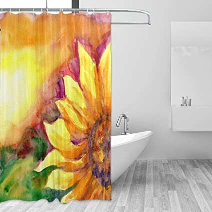 JSTEL Watercolor Painting Sunflower Shower Curtain Mildew Resistant And Waterproof Polyester Fabric 72 X Inches
