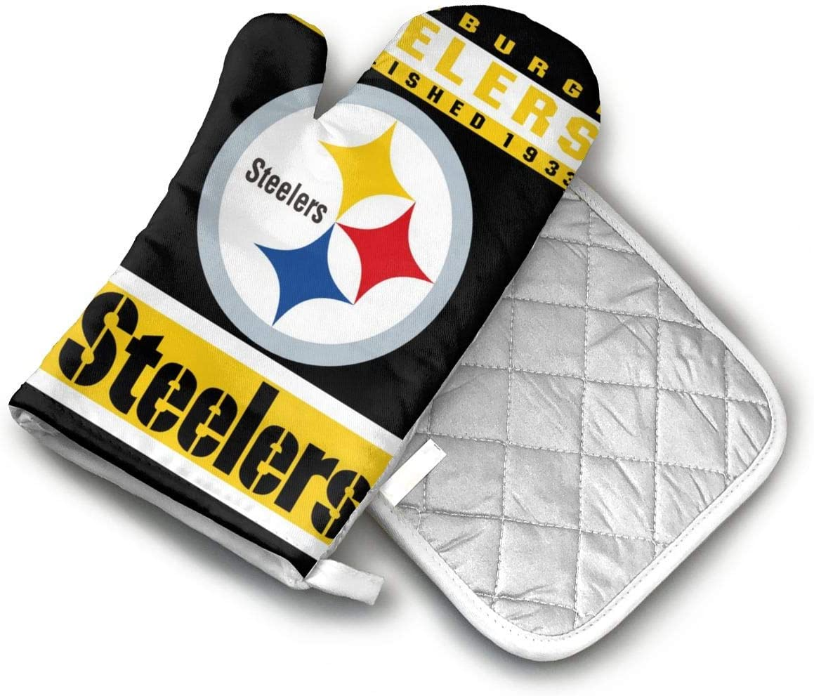 AISDHAJKSD Pittsburgh Steelers Premium Terylene/Nylon Oven Mitts and Pot Mat,Pot Mat/Hot Pads, Heat Resistant Gloves BBQ Kitchen