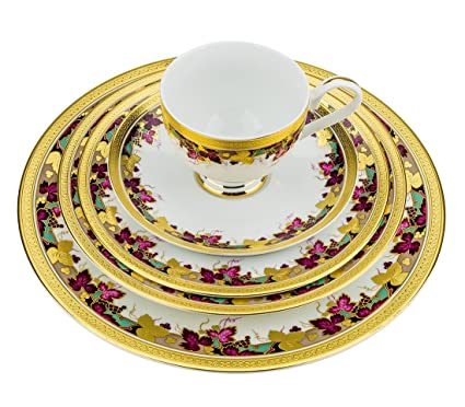 Majestic Porcelain DS1-5 24K Gold-Plated Dinnerware Set Dinner Service for  sc 1 st  Amazon.com : plated dinner service - pezcame.com