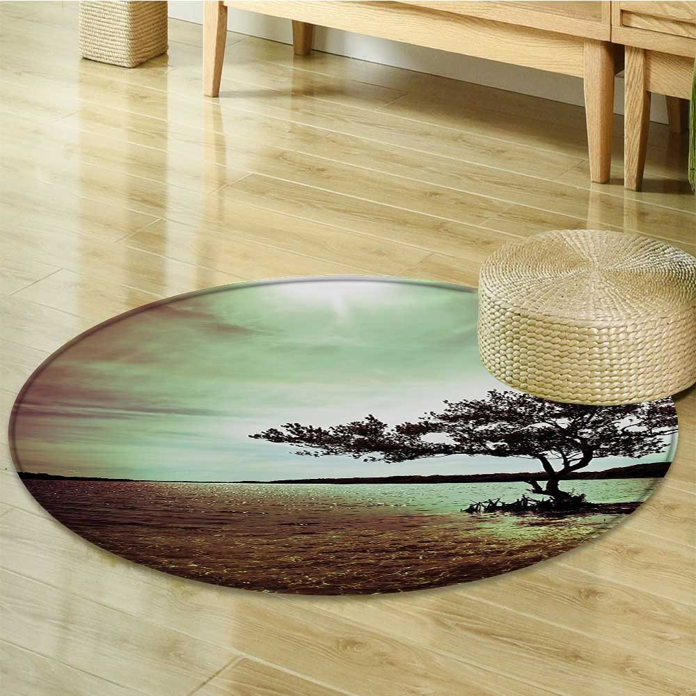 Circle carpet Wall Hanging Lonely Tree Scene for Living Room Bedroom and Dorm Decor Accessories College List One of a Kind Machine Washable Silky Satin in Woodsy Wall Decor Burgun-Diameter 90cm(36'')