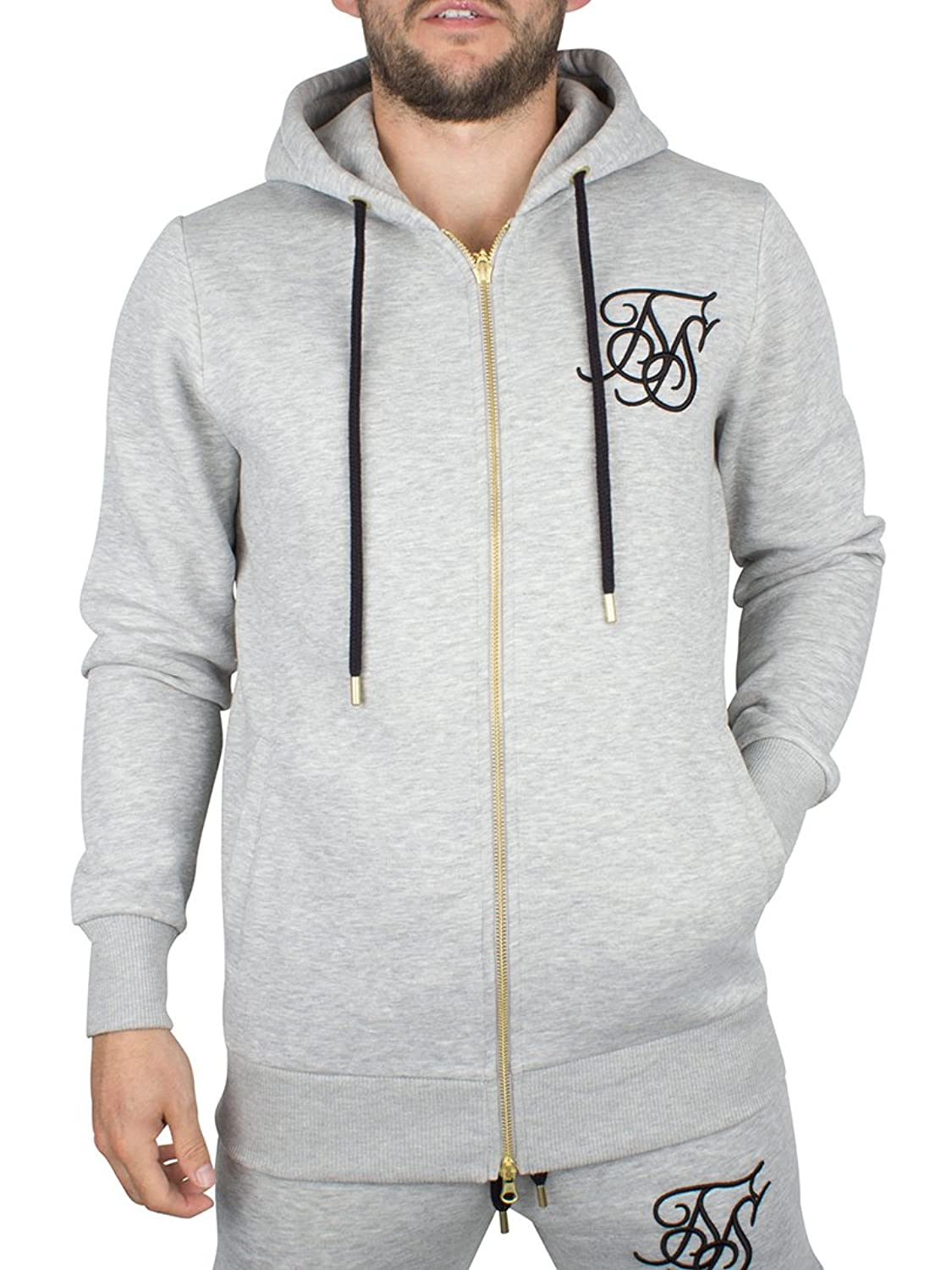Sik Silk Herren Kapuzenpullover Zip Through Hoodie