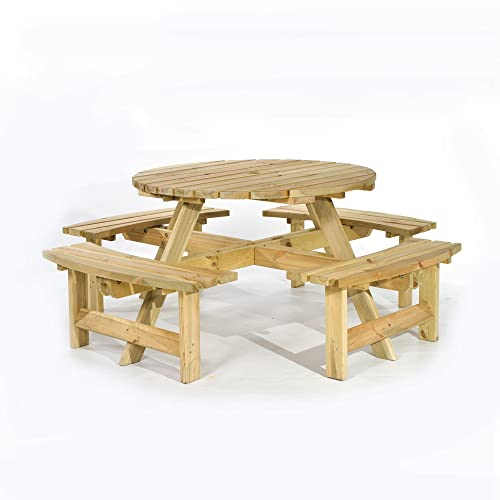 Round Picnic Table Amazon Co Uk Garden Amp Outdoors