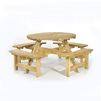 Fine Brackenstyle Picnic Pub Bench 8 Seater Round Wooden Garden Patio Table Thick Timbers Home Interior And Landscaping Ponolsignezvosmurscom