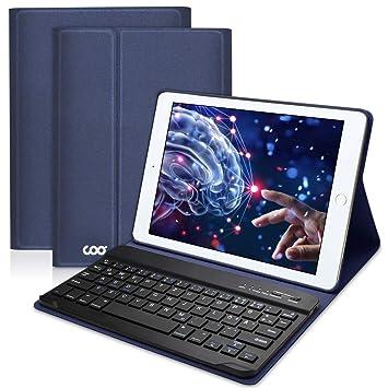 819705a610d COO Funda Teclado Español para iPad, Cubierta Ultraliviano con Teclado  Bluetooth Desmontable para Nuevo iPad