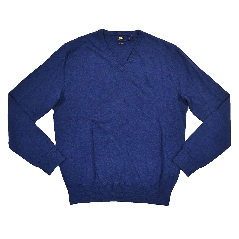 Ralph Lauren Men's Polo V-Neck Pima Cotton Pony Logo Sweater at ...