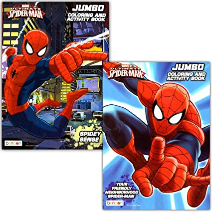 Amazon.com: Spider-man Coloring & Activity Book Set (2 Books ~ 96 ...