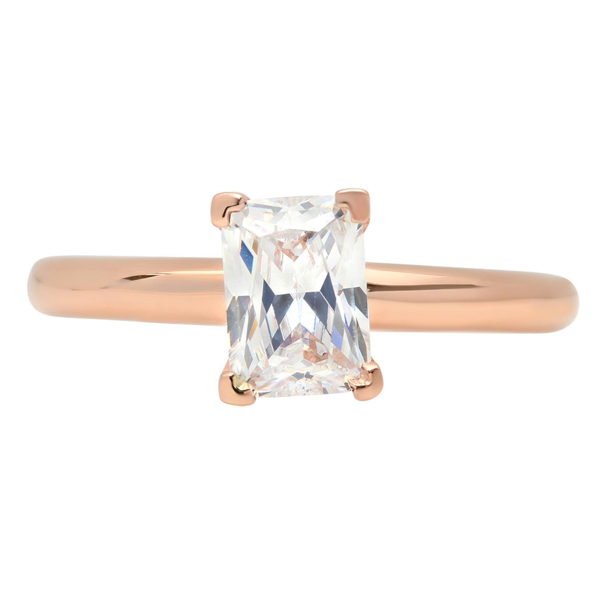 1.1ct Brilliant Emerald Cut Solitaire Statement Ring 14k Rose Gold, 7.75, Clara Pucci