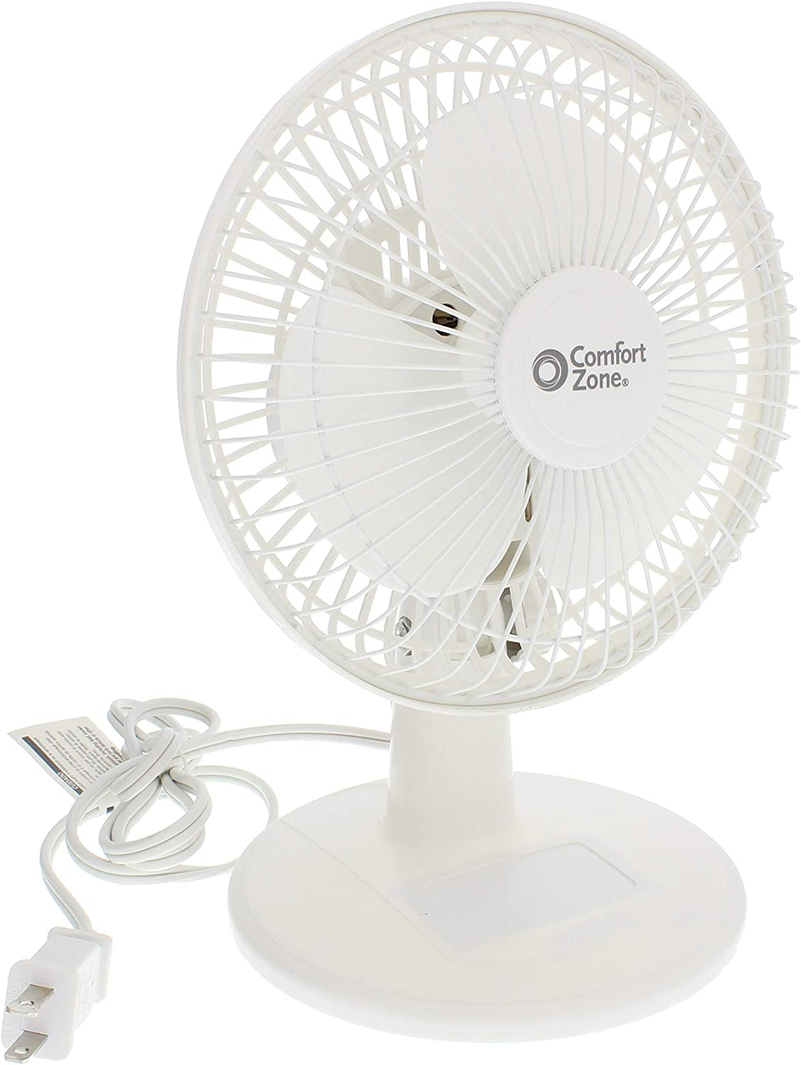 Comfort Zone Desk Fan - Whisper Quiet, 2 Speed, 6""