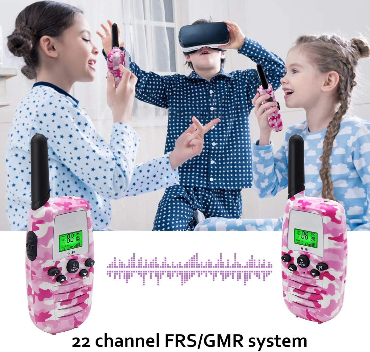 1 Pair 3 Mile Range Long 22 Channel with Flashlight Outdoor Camping /& Hiking Gear Christmas Birthday Gifts Toys for 3-12 Year Old Boys Girls Pink Byserten Walkie Talkies for Kids H-388