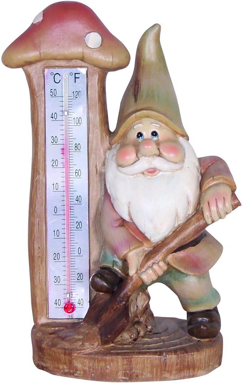 Figura de enano con termómetro y pala, Enano de jardín, jardín Figura, escultura: Amazon.es: Jardín