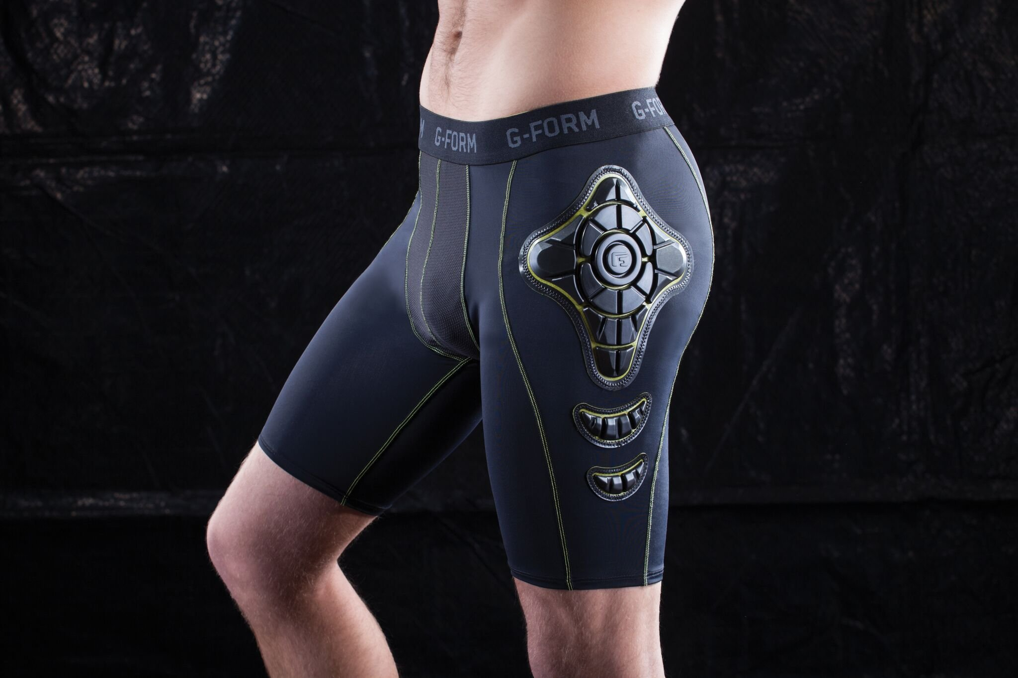 G-Form Pro-X Compression Shorts, Black/Yellow, Medium by G-Form (Image #4)