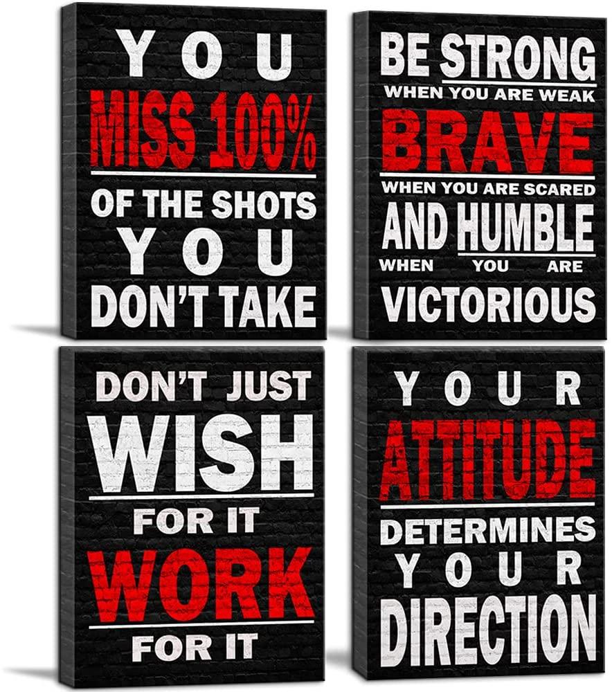 Inspirational Wall Art Poster Quote Motivational Wall Art for Office Living Room Bedroom Gym Black and White Red Positive Quotes Funny Office Wall Decor Sign Office Art 4 pieces