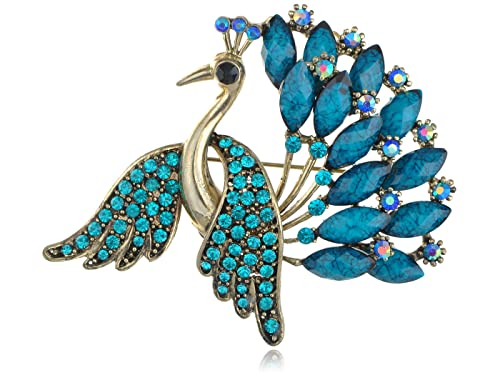 f1732e3df43 Alilang Antique Golden Tone Turquoise Blue Gem Rhinestones Large Peacock  Bird Brooch Pin