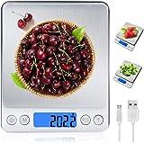 MyDear Báscula Digital para Cocina con Carga USB, Recargable Balanza de Acero Inoxidable Alimentos Multifuncional Alta Precis