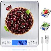 MyDear Báscula Digital para Cocina con Carga USB, Recargable Balanza de Acero Inoxidable Alimentos Multifuncional Alta…