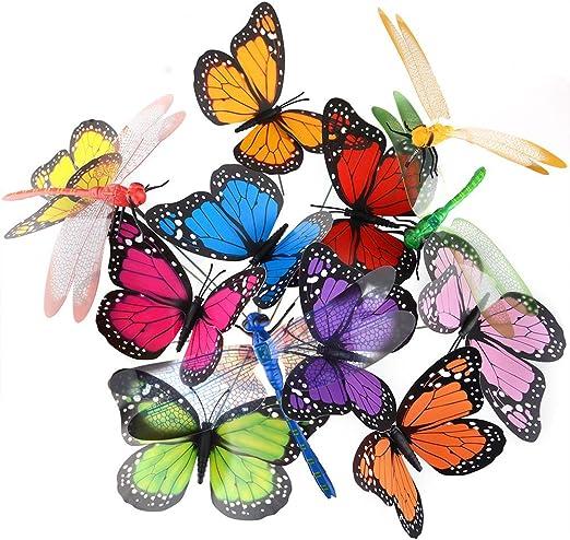 Mariposas decorativas para jardín Austor, con bastón, libélulas, mariposas, decoraciones, adornos, productos para fiestas, 26 unidades: Amazon.es: Jardín