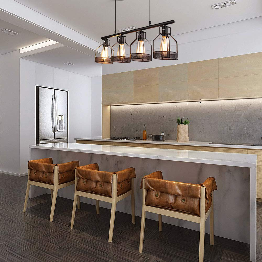 Kitchen Island Lighting 4-Light Pendant Light Fixture with Paint Finish Cage Lampshade Modern Industrial Chandelier by EE Eleven Master (Image #3)
