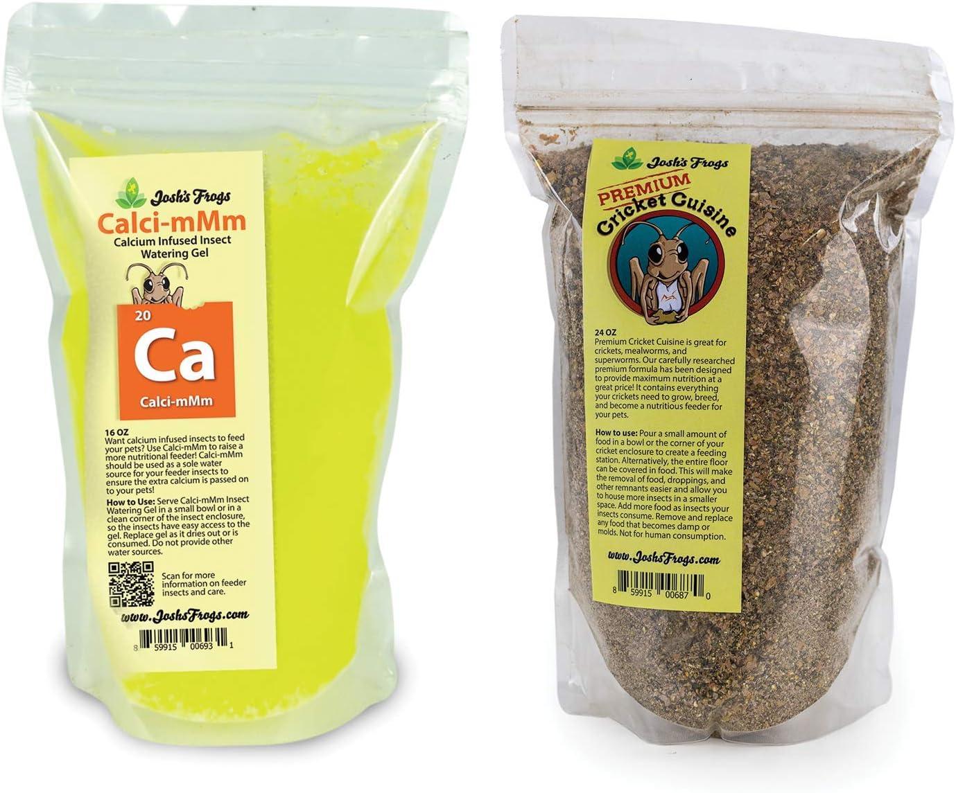 Josh's Frogs Premium Cricket Cuisine and Calcium Watering Gel Bundle (24 oz and 16 oz)