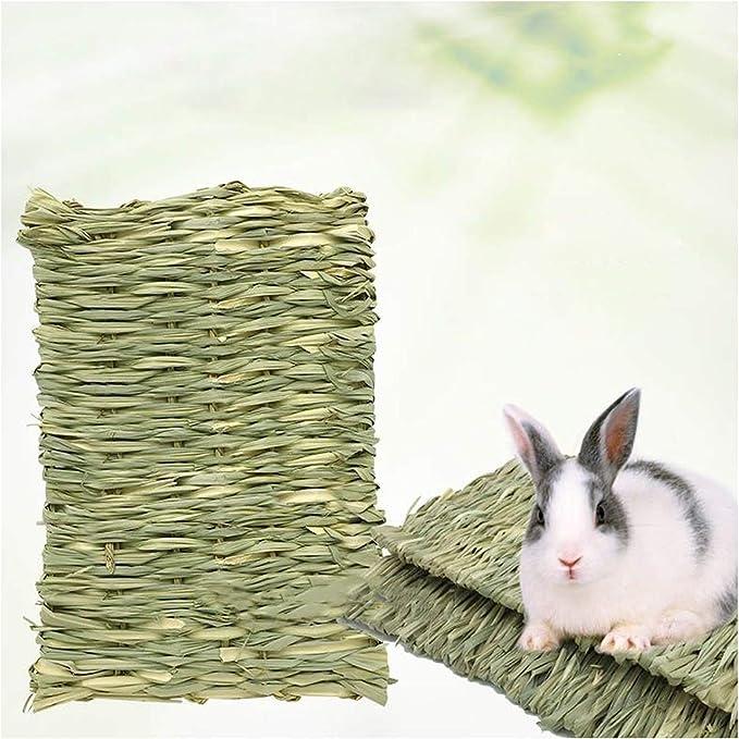 Alfombrilla de césped para animales pequeños, hecha a mano, almohadilla de paja para masticar animales pequeños, cobayas, loros, hámsters, gatos, perros, chinchillas, ardillas, hurones, etc.