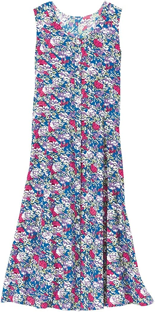AmeriMark Women/'s Sleeveless Button-Front Sun Dress Casual Dress with Pockets