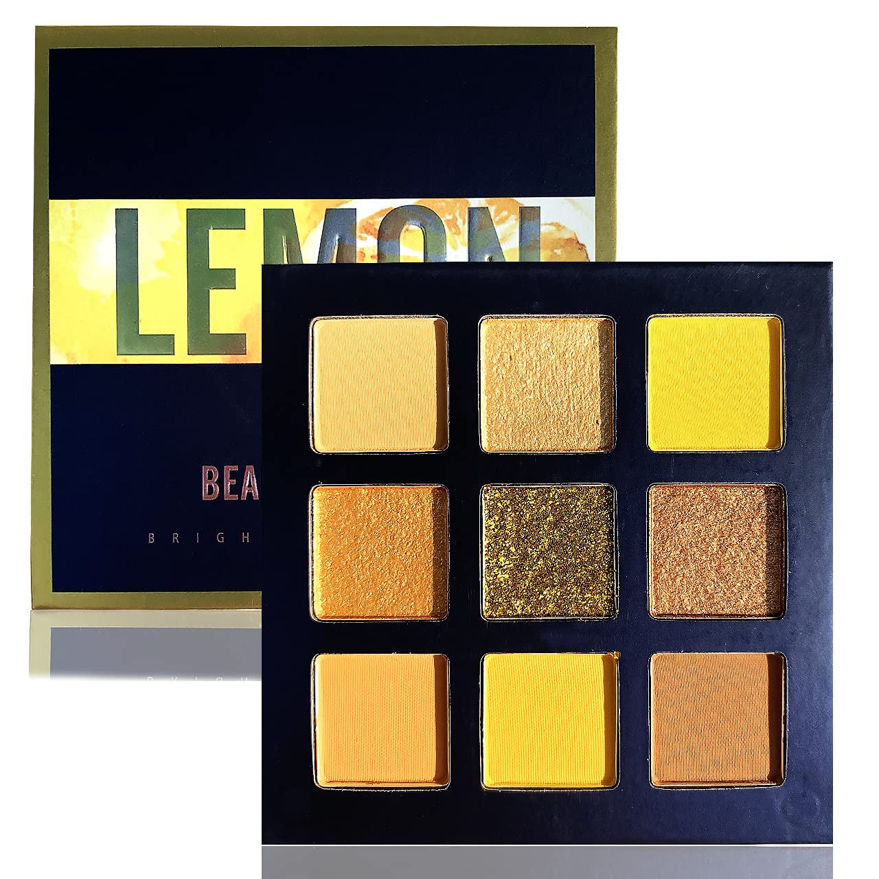Eyeshadow Palettes Makeup Eye Shadow Pallet With 9 Colors Shimmer Matte Glitter Strong Pigmented Make Up Palette Blendable Waterproof and Sweat-proof Cosmetic Long Last Bright Colorful (LEMON)