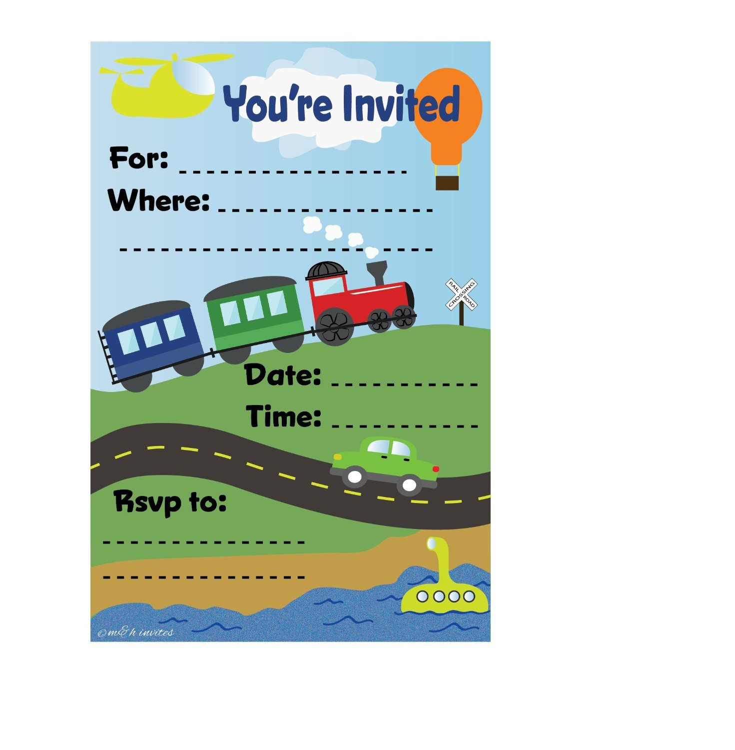 Amazon transportation train themed birthday party invitations amazon transportation train themed birthday party invitations fill in style 20 count with envelopes by mh invites toys games stopboris Image collections