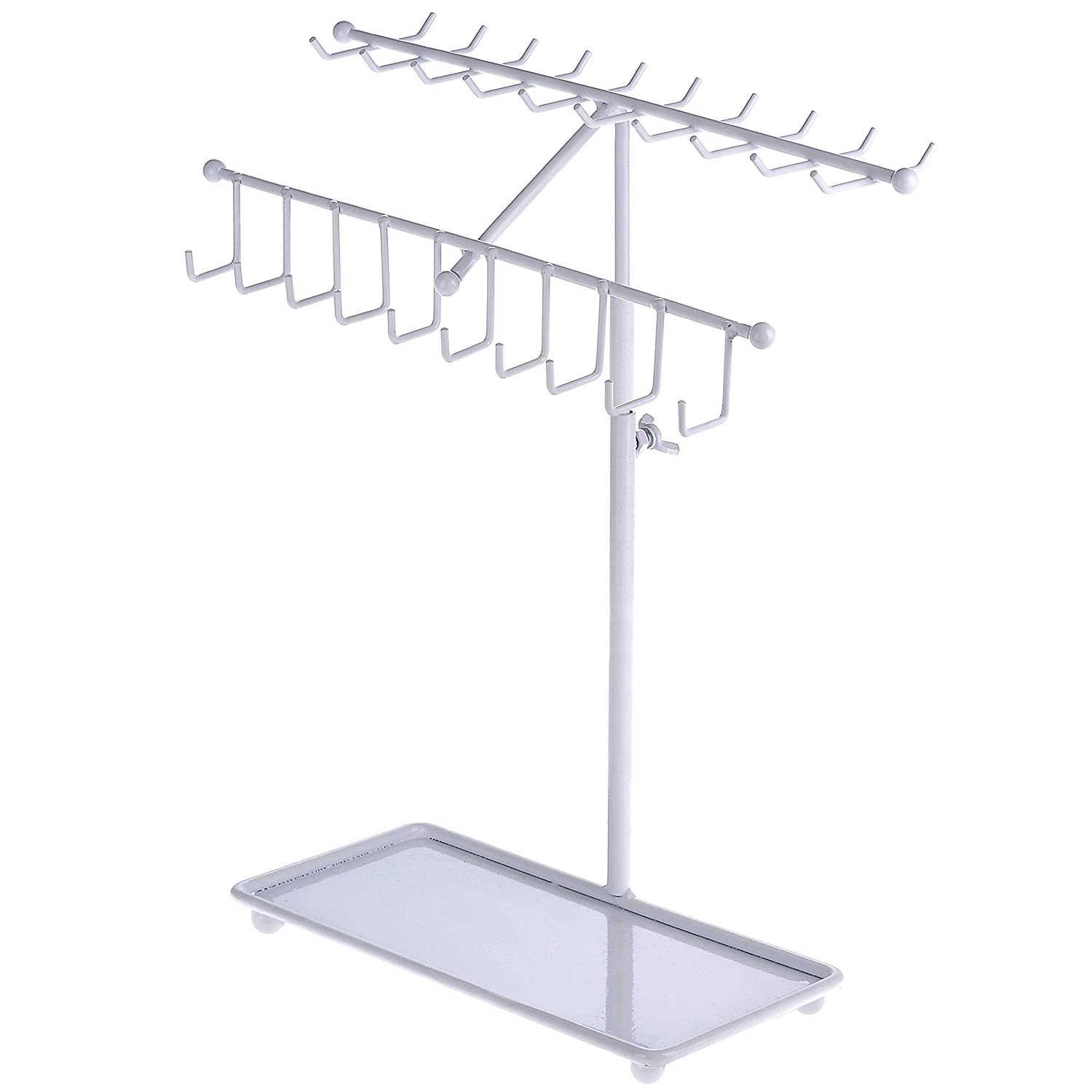 MyGift 15 inch White Metal 30-Hook Necklace Bracelet Storage Organizer Jewelry Tree Hanger Display Rack TB-J0026WHT