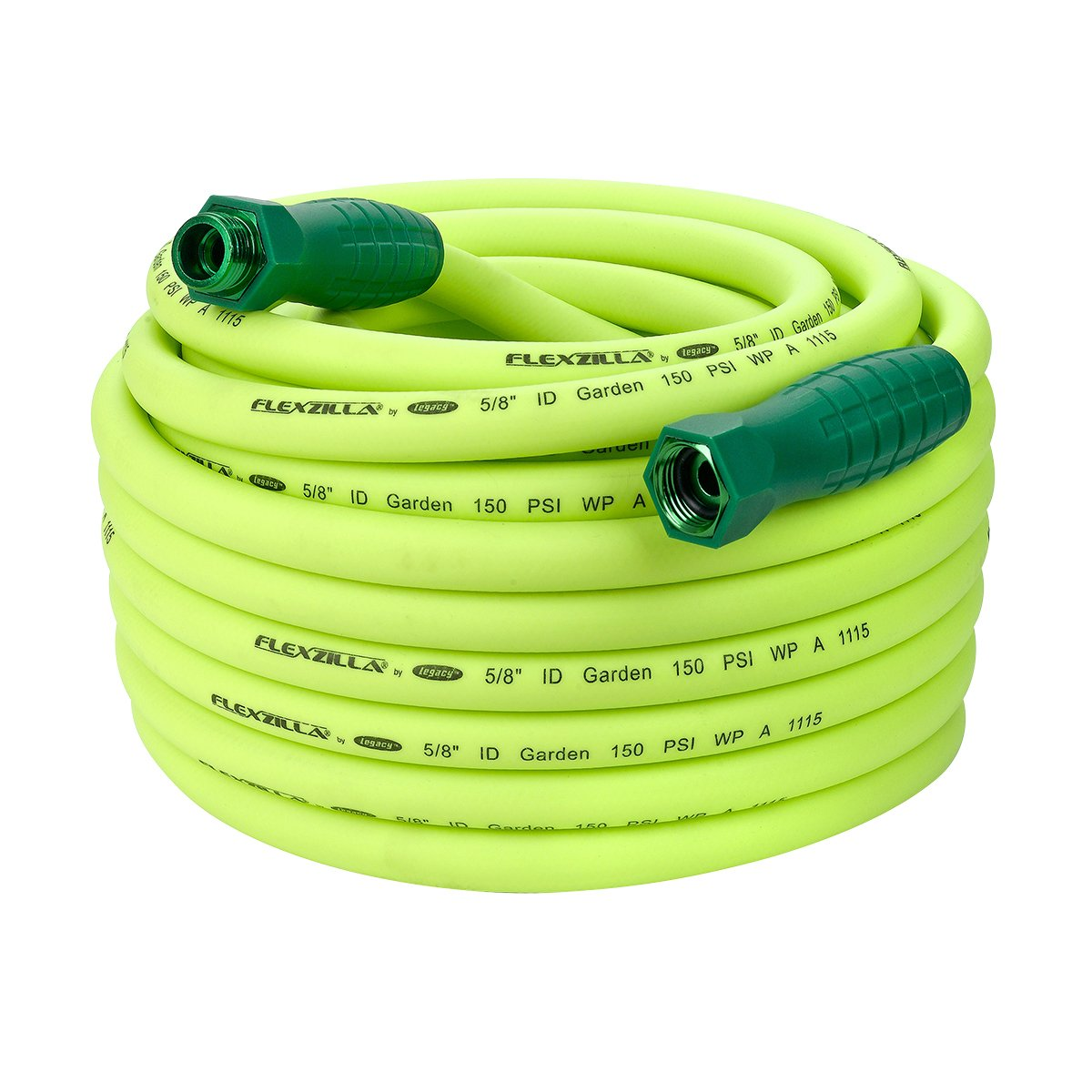 "Flexzilla HFZG575YWS Garden Hose, 5/8"" (inches) x 75' (feet) ZillaGreen w/SwivelGrip"