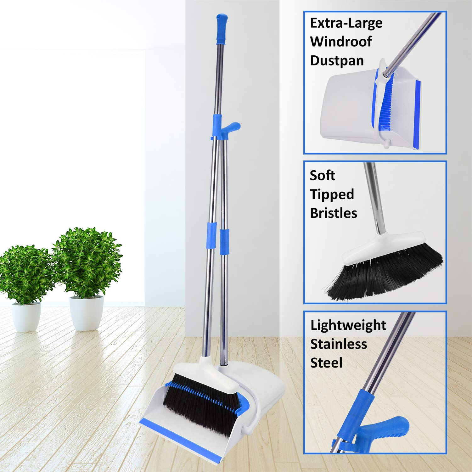 Broom And Dustpan Set - Strongest 30% Heavier Duty - Upright Standing Dust Pan With Extendable Broomstick For Easy Sweeping - Easy Assembly Great Use For Home, Office, Kitchen, Lobby Etc.- By Kray by kray (Image #7)