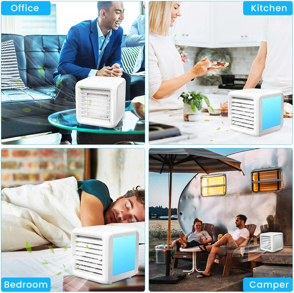 Tr/ès appropri/é pour le Bureau Baban Climatiseur Mobile 3 en 1 Mini Refroidisseur dAir Climatiseur Ventilateur de Table Silencieux Ventilateur de Table 8 LED Mode de Conversion Facile /à transporter