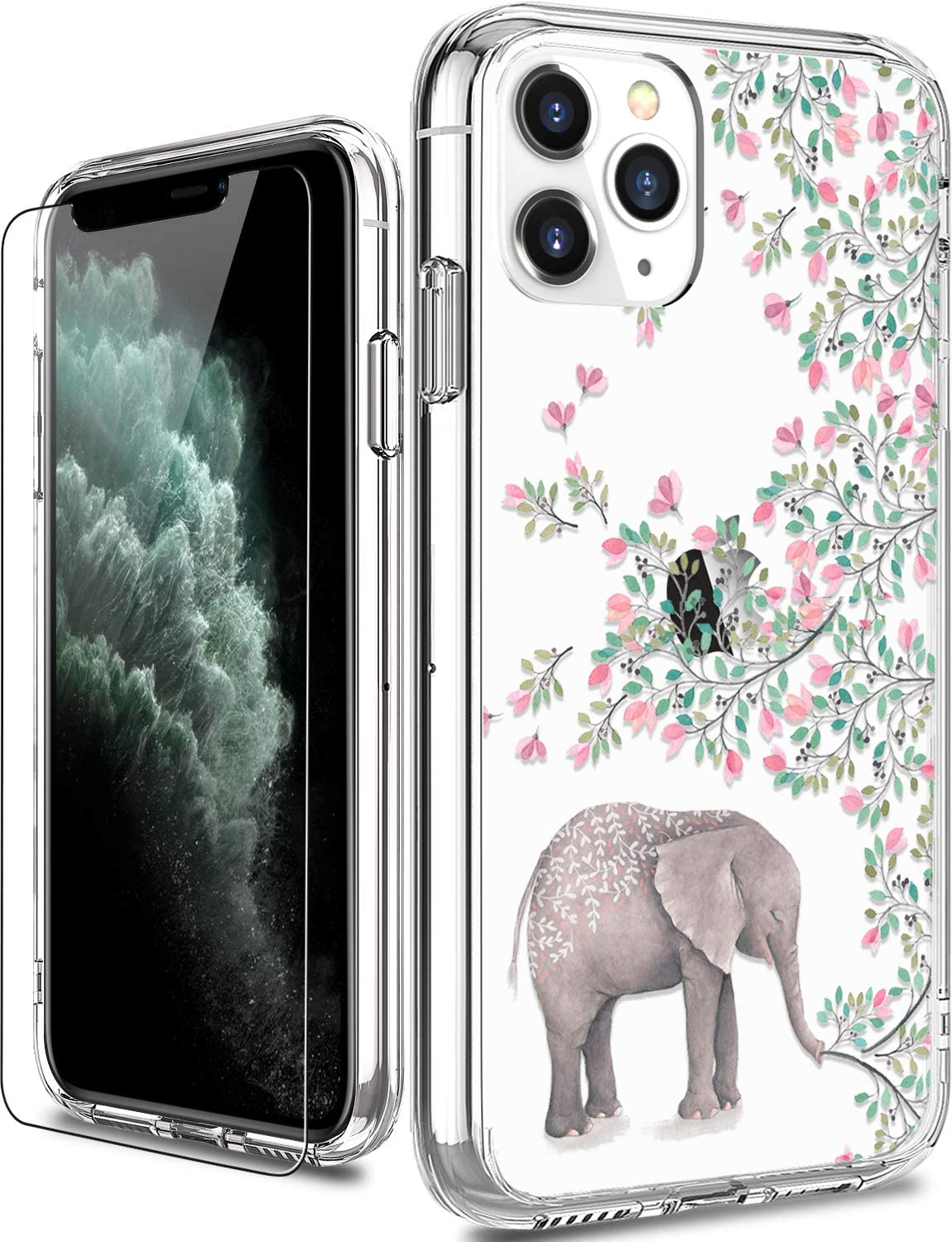 LUHOURI iPhone 11 Pro Case with Screen Protector,Clear with Cute Floral Flower Designs for Girls Women,Shockproof Slim Fit Protective Phone Case for iPhone 11 Pro 5.8 inch 2019 Elephant