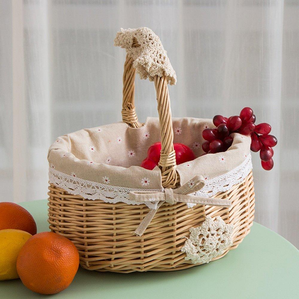 SEESUNG Picnic Basket Fruit Basket Rattan Shopping Basket Storage Basket Egg Basket Woven Basket Basket Basket Basket Shopping Basket Dish Blue, 02