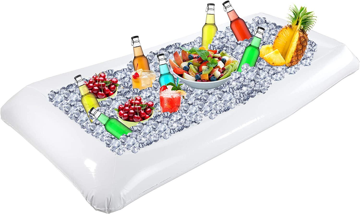 Outdoor Inflatable Buffet Cooler Server - White Blow Up Cooling Tub For Serving Buffet Style Picnic