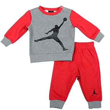 39520ee06d0531 Nike Air Jordan Jumpman Collection Baby 2-Piece Tracksuit Grey Red 3-6  Months  Amazon.co.uk  Clothing
