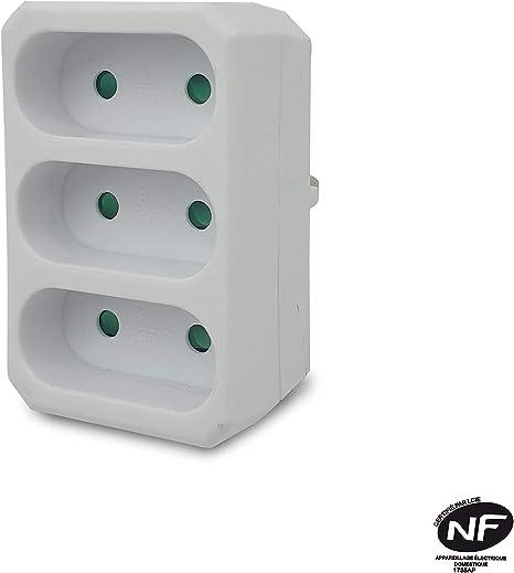 Velamp Adat-Fr-2 Multiprise 3 Prises Électriques Frontales 3X6A Blanc