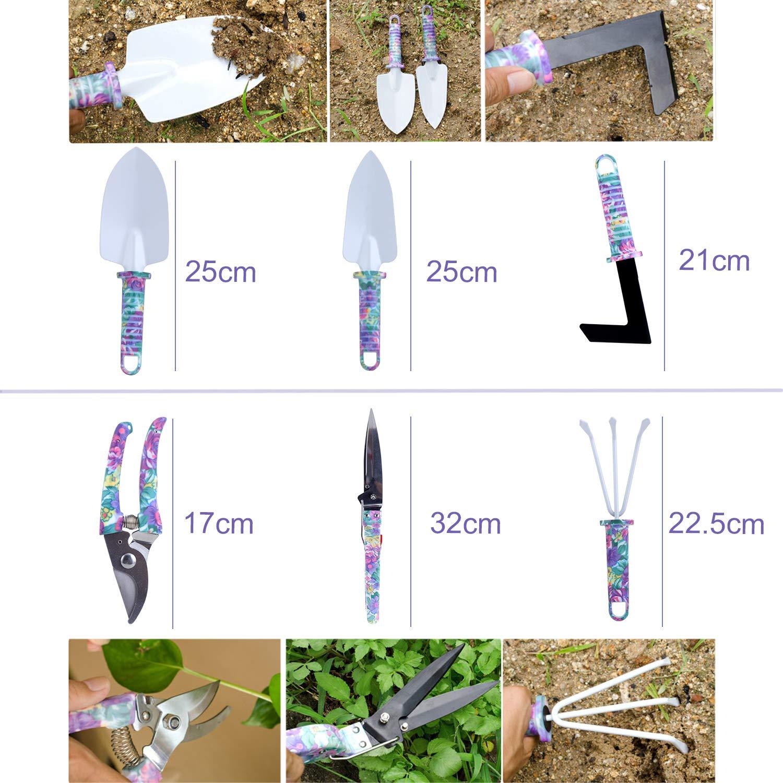 Gardening Gift KEESIN Gardening Hand Tools,Anti-rust Shovel Spade,Rake Harrow,Trowel Pruner Shears,Sprayer,with Carrying Case 10 Pieces