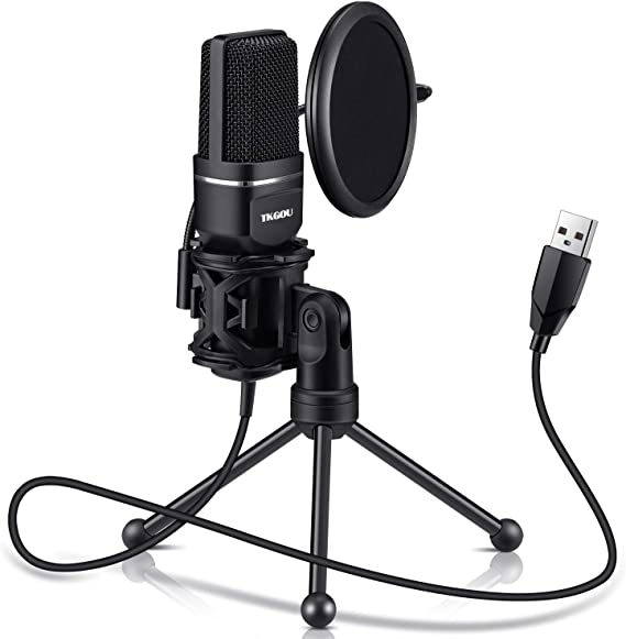 USB Microphone for Computer - Plug &Play Computer Microphone - Metal Condenser Recording Microphone with Pop Filter for Skype