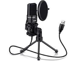 USB Microphone, TKGOU Computer Condenser Recording Microphones.for PC,PS4,Laptop,Desktop,Tripod Stand,Pop Filter,Shock Mount.