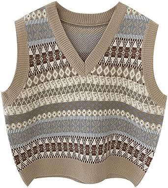 SMIMGO Suéter de punto sin mangas para mujer, clásico vintage con cuello en V chaleco de otoño casual jerseys Gilets chaleco superior