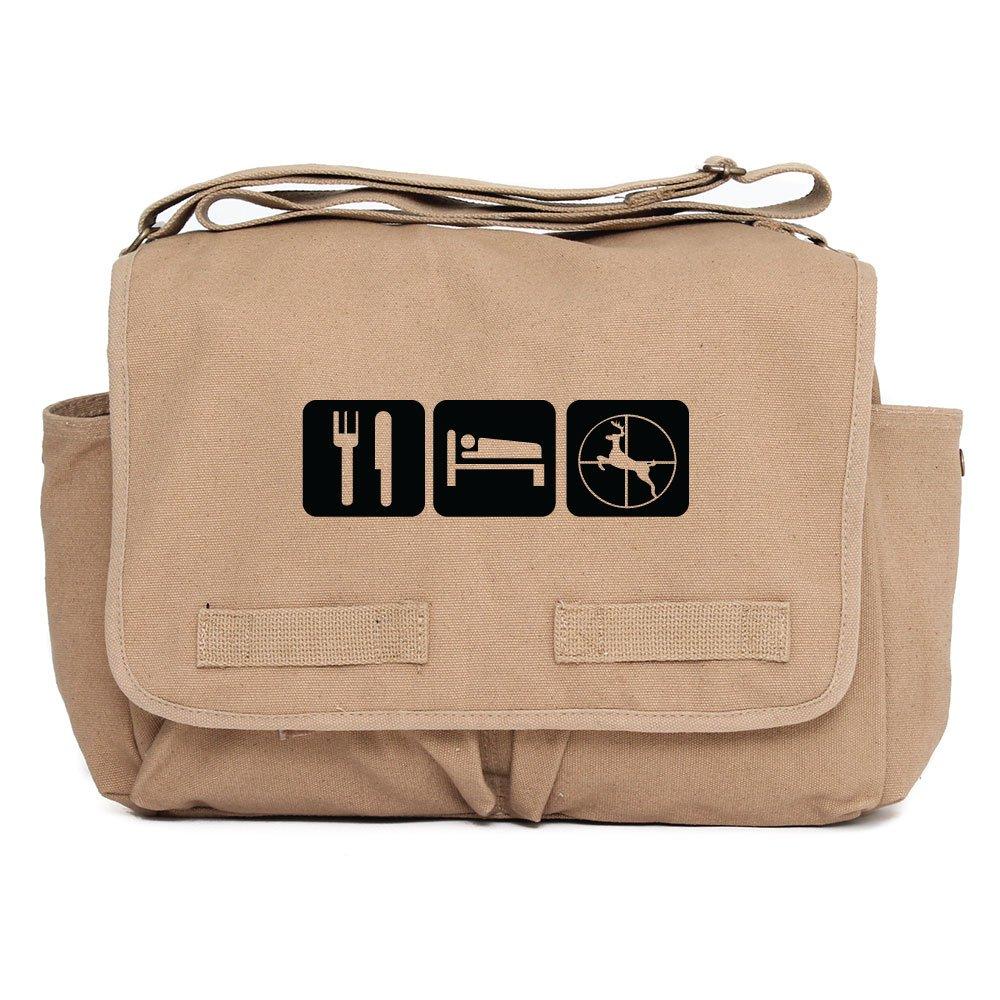Eat Sleep Hunt Army Heavyweight Canvas Messenger Shoulder Bag in Black /& White